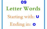 Nine letter words starting with U and ending in O