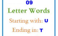 Nine letter words starting with U and ending in T