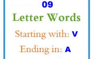 Nine letter words starting with V and ending in A