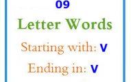 Nine letter words starting with V and ending in V