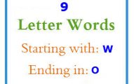 Nine letter words starting with W and ending in O