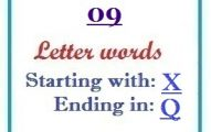 Nine letter words starting with X and ending in Q