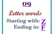 Nine letter words starting with Z and ending in F