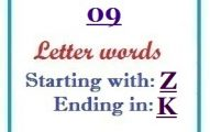 Nine letter words starting with Z and ending in K