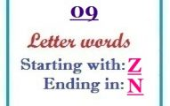 Nine letter words starting with Z and ending in N