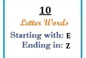 Ten letter words starting with E and ending in Z