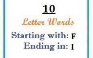 Ten letter words starting with F and ending in I