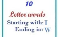 Ten letter words starting with I and ending in W