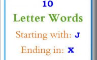 Ten letter words starting with J and ending in X
