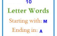 Ten letter words starting with M and ending in A