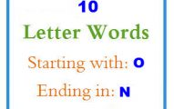 Ten letter words starting with O and ending in N