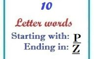 Ten letter words starting with P and ending in Z
