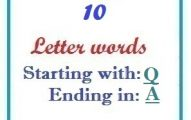 Ten letter words starting with Q and ending in A