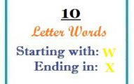Ten letter words starting with W and ending in X