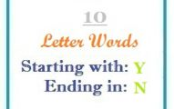 Ten letter words starting with Y and ending in N