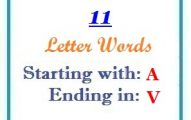 Eleven letter words starting with A and ending in V