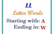 Eleven letter words starting with A and ending in W