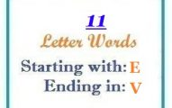 Eleven letter words starting with E and ending in V
