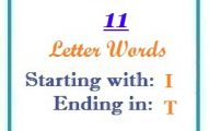 Eleven letter words starting with I and ending in T