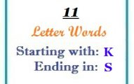 Eleven letter words starting with K and ending in S