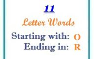 Eleven letter words starting with O and ending in R