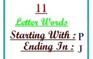 Eleven letter words starting with P and ending in J