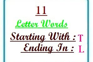 Eleven letter words starting with T and ending in L