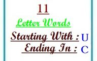 Eleven letter words starting with U and ending in C