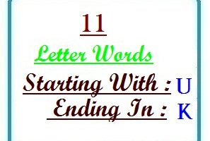 Eleven letter words starting with U and ending in K