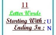 Eleven letter words starting with U and ending in N