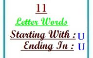 Eleven letter words starting with U and ending in U