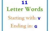 Eleven letter words starting with V and ending in G