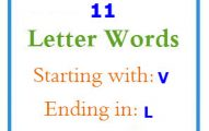 Eleven letter words starting with V and ending in L