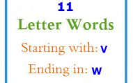 Eleven letter words starting with V and ending in W