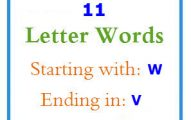 Eleven letter words starting with W and ending in V