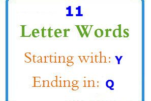 Eleven letter words starting with Y and ending in Q