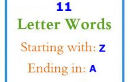 Eleven letter words starting with Z and ending in A