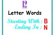 Twelve letter words starting with B and ending in N