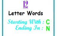 Twelve letter words starting with C and ending in N
