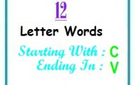 Twelve letter words starting with C and ending in V