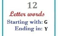 Twelve letter words starting with G and ending in Y
