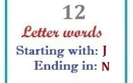 Twelve letter words starting with J and ending in N