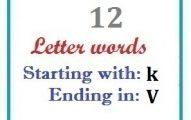 Twelve letter words starting with K and ending in V