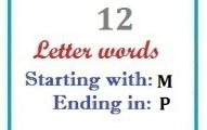 Twelve letter words starting with M and ending in P