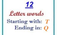 Twelve letter words starting with T and ending in Q