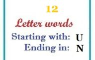 Twelve letter words starting with U and ending in N