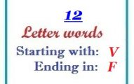 Twelve letter words starting with V and ending in F