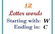 Twelve letter words starting with W and ending in C
