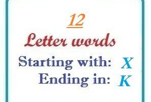 Twelve letter words starting with X and ending in K