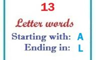 Thirteen letter words starting with A and ending in L